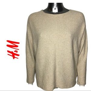 H&M Cream Ribbed Knit Top Dolman Sleeves
